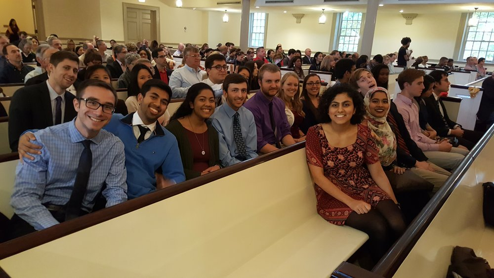 ILS students at citation ceremony in the Memorial Chapel.