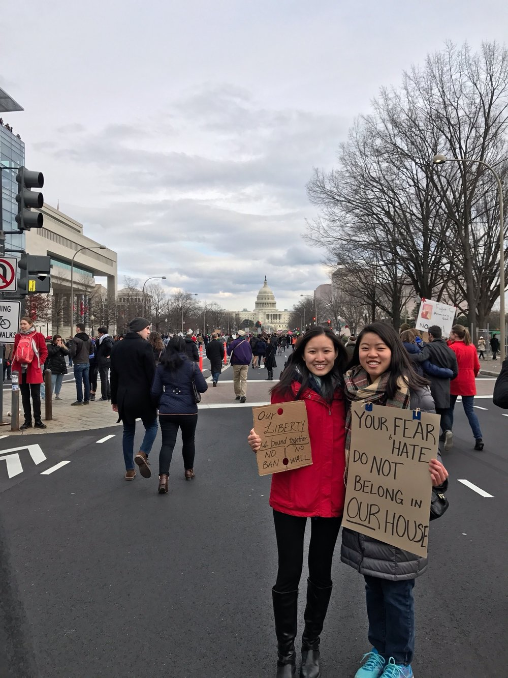 Picture of Tiffany Hu at a political march in Washington, D.C.