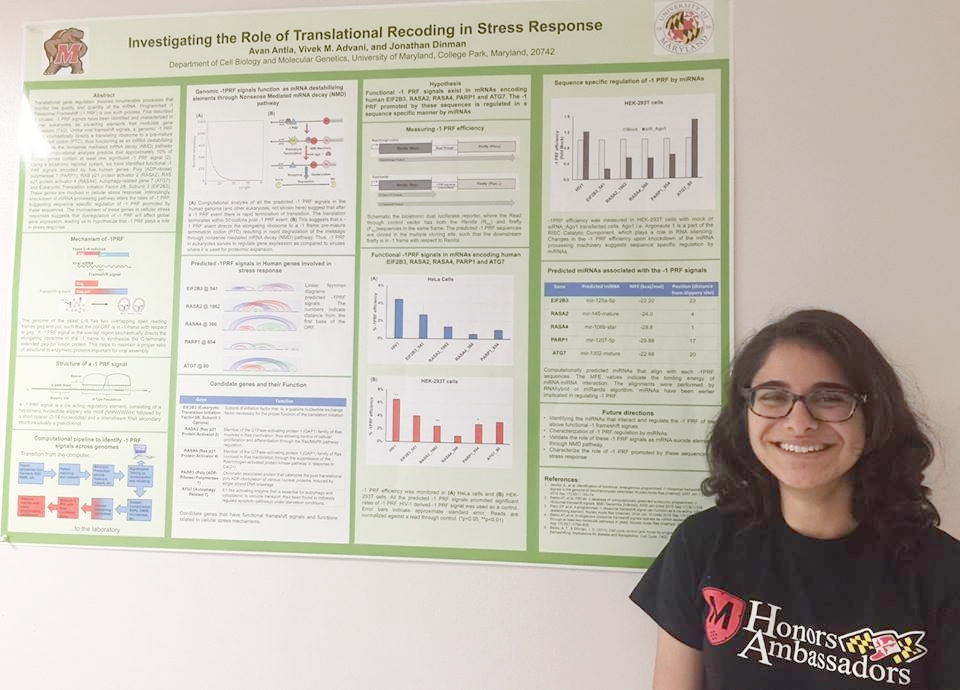 Picture of Avan Antia with her research poster.