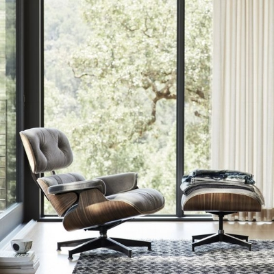 The iconic Eames chair gets a coziness upgrade with mohair instead of leather.  Image source .
