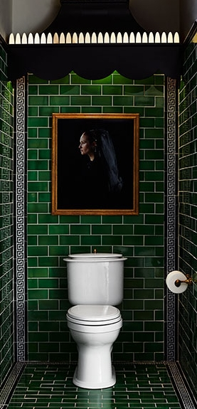 Love this classic subway tile with in a bold emerald green! (   source   )