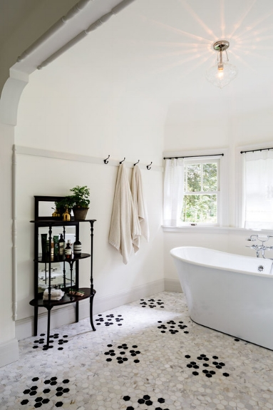 Love the mosaic, honeycomb flooring    here   . A modern spin on a classic look by Jessica Helgerson Interior Design.