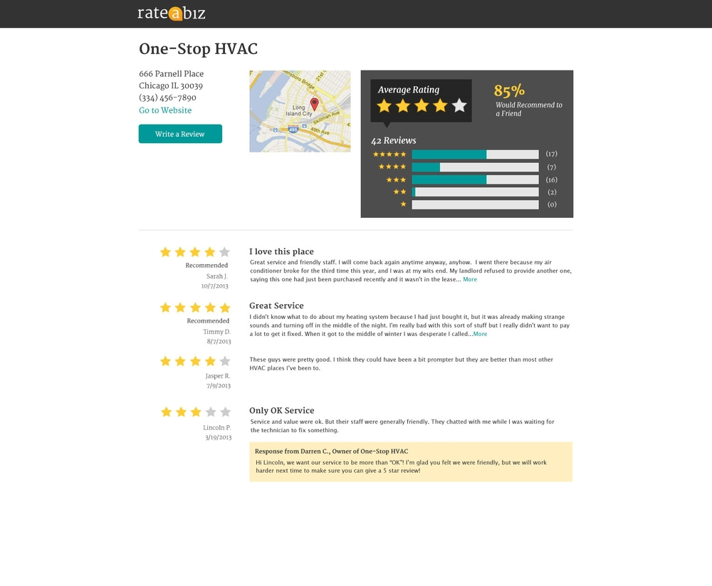 A Small Business Profile Page on Rate A Biz