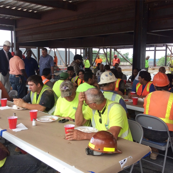 More construction workers at lunch