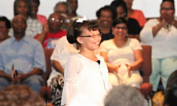 Miss Tabitha Jamison at the Town Hall meeting                photo credit: Nancy West
