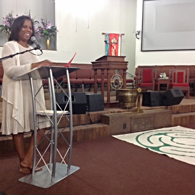 Rev. Dr. Cheryl Dudley discussing the labyrinth