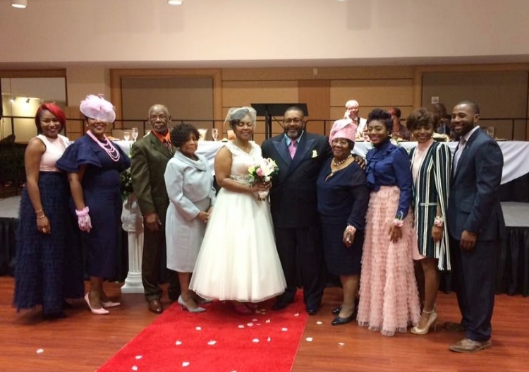 l-r Arnette James, Elisha James Waters, Mr. Turner, Mrs. Turner, the bride and groom, Mrs. Dorothy James, Hadassah James, Keziah Palmer and Therm James, Jr.