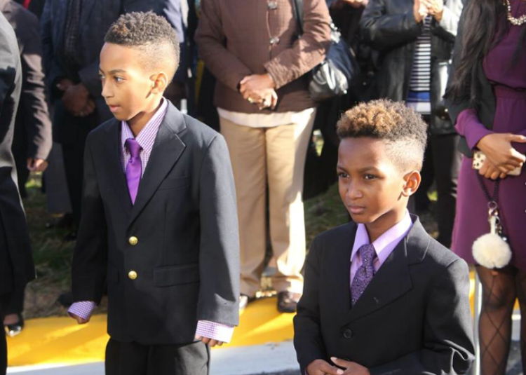 l-r Mercelles and Mecai McKnight, brothers who Rang the Bell for the Ribbon Cutting Ceremony                    Photo: Nancy West