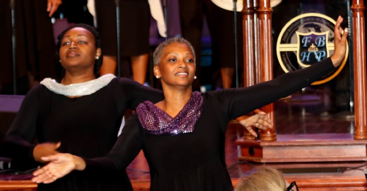 Praise Dancers Sharon McKnight (center) and Alandrea Knight  Photo: Anthony Moore