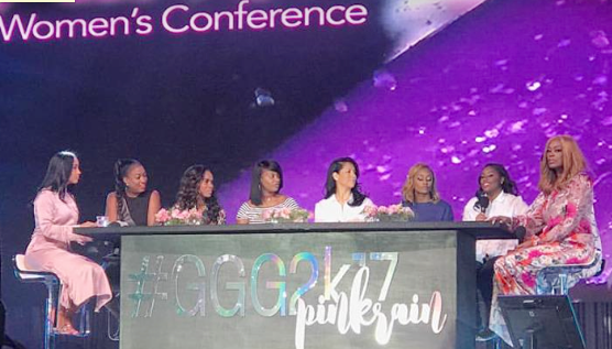 DeeDee Freeman moderating the fabulous  Finding Your Pink  panel that included her daughters, Brelyn Bowman and Brittney Borders along with Sophia Luke, Cheryl Price, Michelle Williams, Jewel Tankard and Tiffany Cornelius