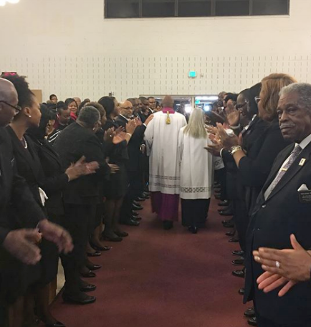 The final exit of Bishop & Lady Debnam, video of Final Benediction is below. photo and video Robilyn Heath