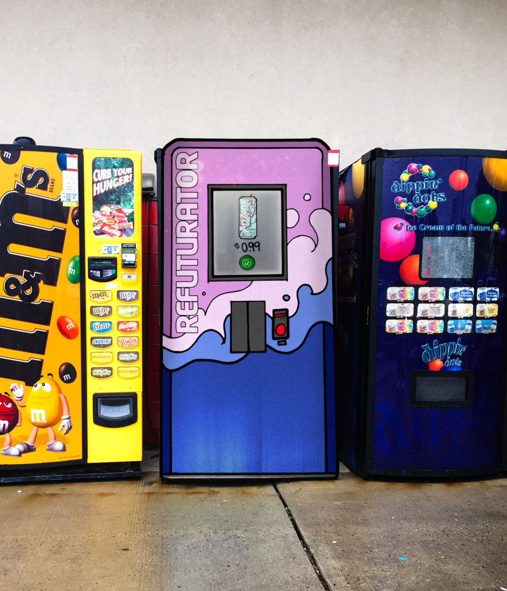 The Refuturator - is a futuristic vending machine that will be placed in gas stations. It features popular drinks from different planets and dimensions.