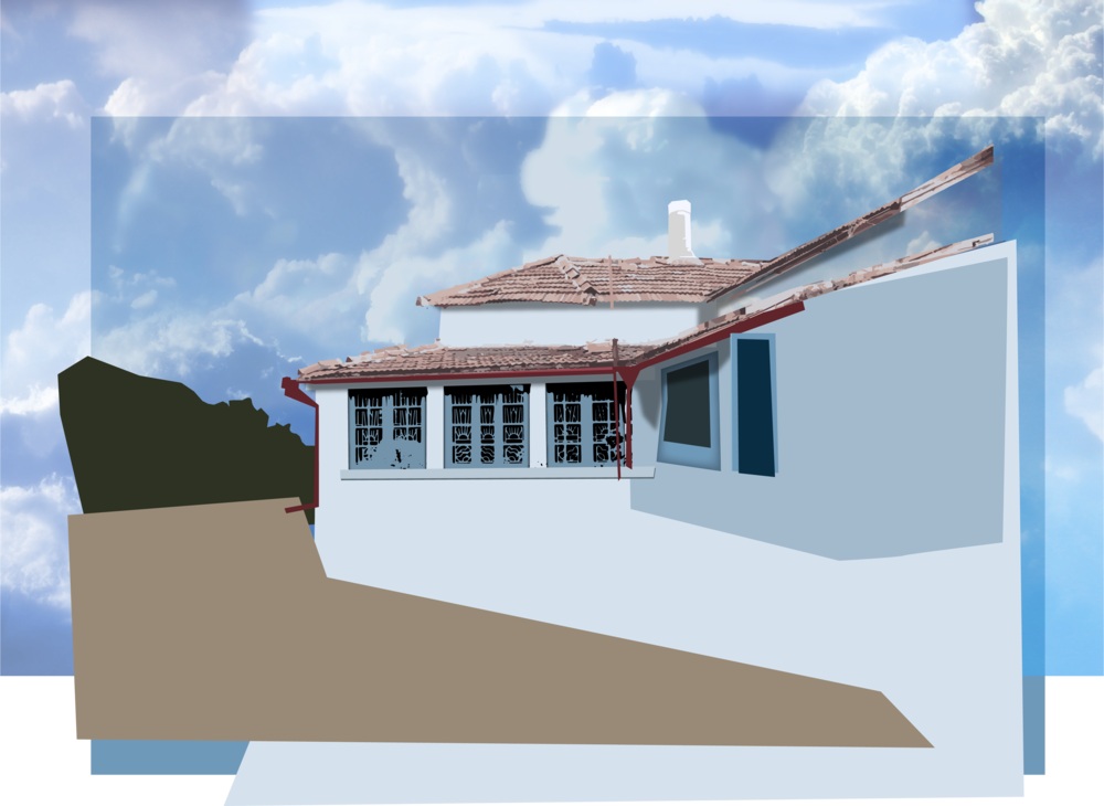 House Detail - Shadows and texture are added to the house. A backdrop image of blue sky is added as well.