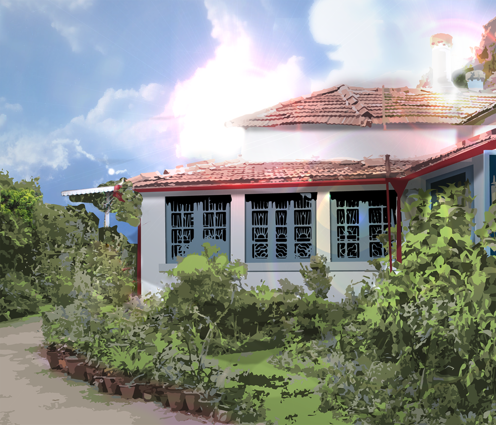 Lighting  - Lighting is rendered in Photoshop and more minor tweaks, such as plant pot colors, are made.