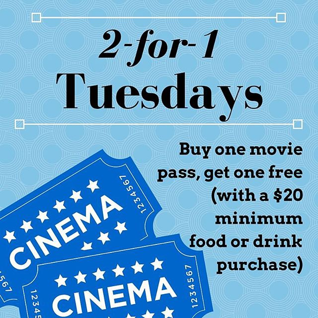 If you're planning on going to the movie tonight, take advantage of 2-for-1 Tuesday! #moviedate #dinnerandamovie #cinemagrill #alameda
