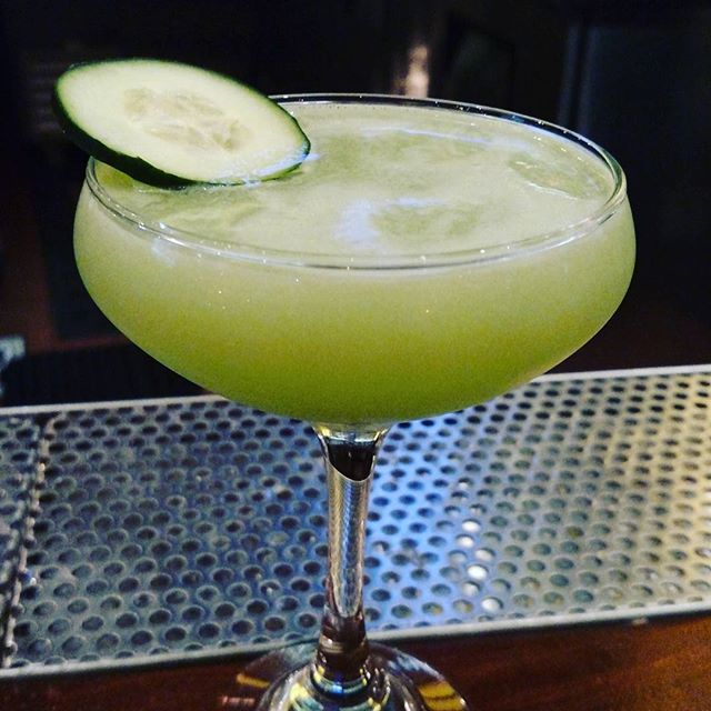 One of our most-ordered drinks: Cucumber Gimlet. Gin, house-made cucumber water, orgeat, and lime juice. #alameda #bayareadrinks #bayarea #dinneranddrinks #yum #cocktail