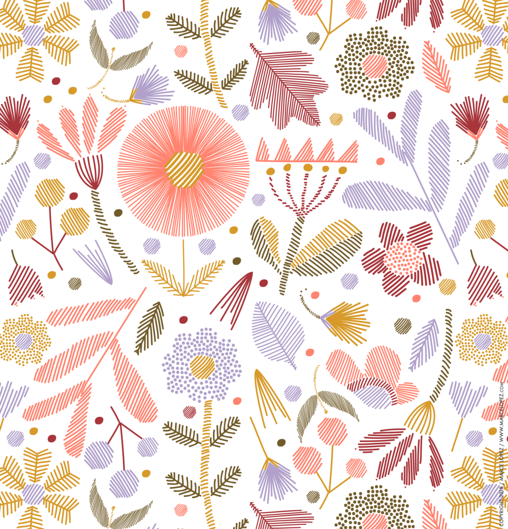 vectorial pattern flowers