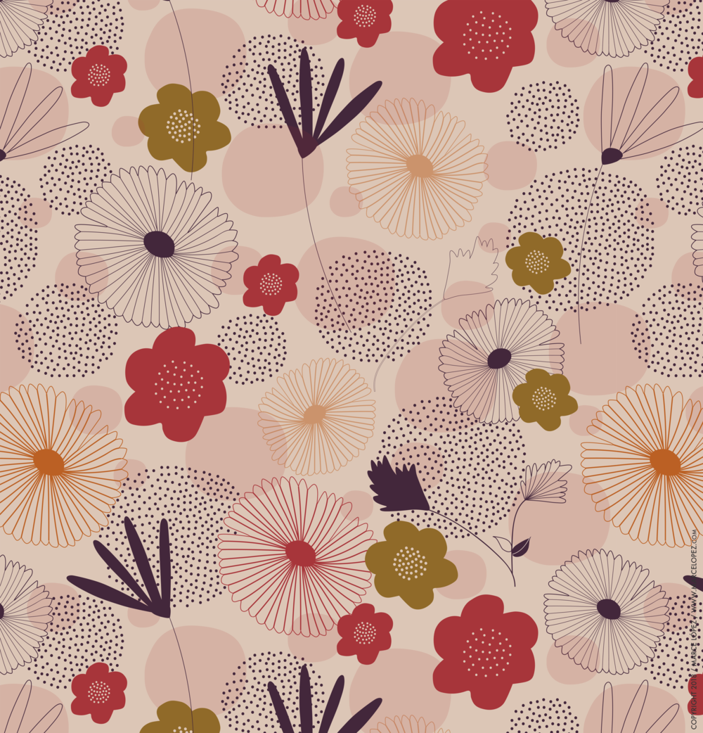 digital flowers pattern