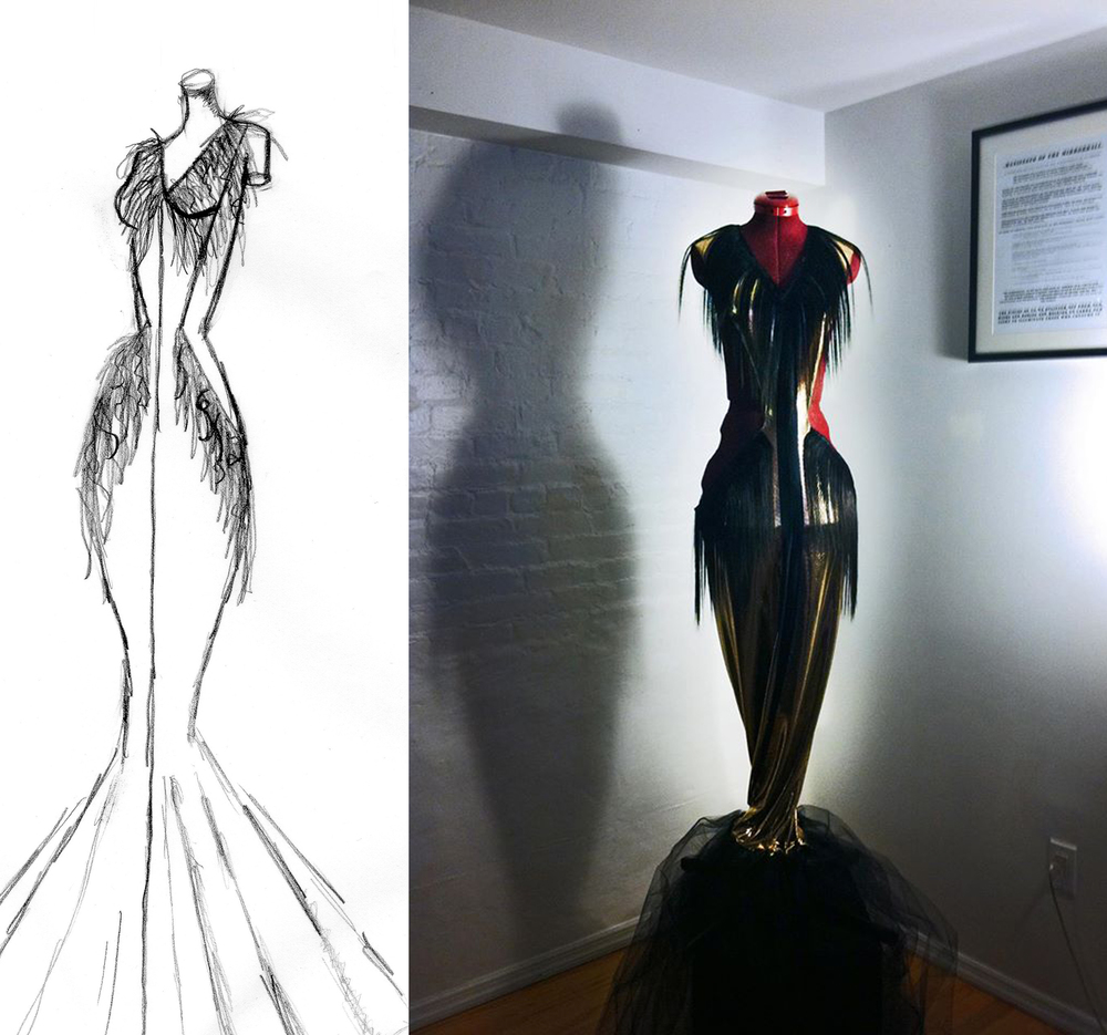Out of the Closet, 2012, Tulle, Metallic Spandex, Human Hair, Dressform, 7' x 1.5'