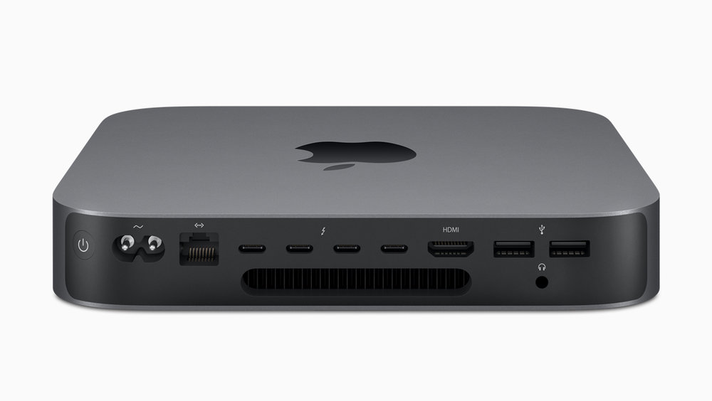 2018 Mac mini, (note the four Thunderbolt 3 ports) - image attribution  Apple press archive