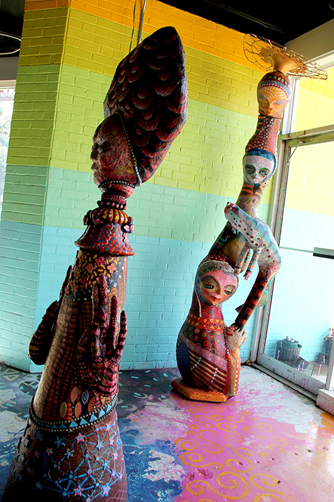 Greg Carter's totemic sculpture.