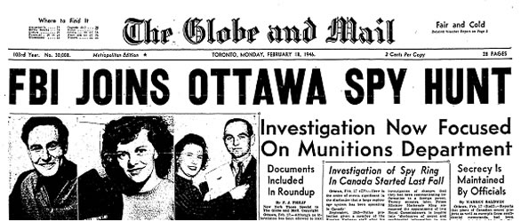 1946 Globe and Mail Front Page  Photo: Globe and Mail