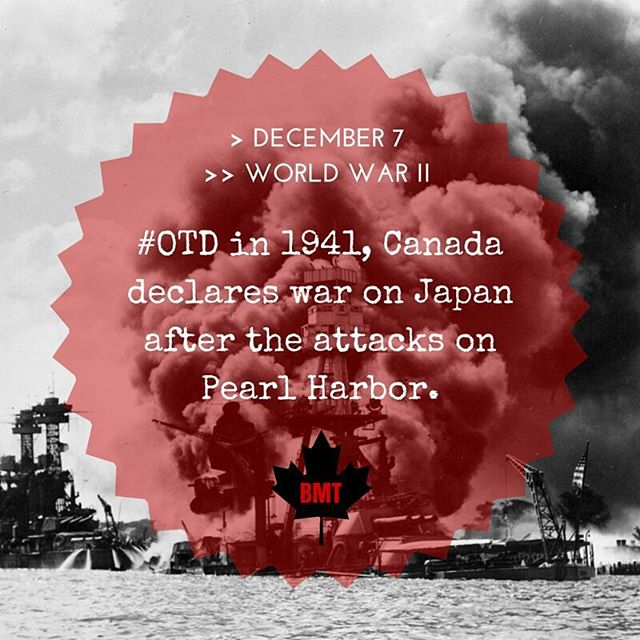 #OTD in 1941, #Canada declares war on Japan after the attacks on #PearlHarbor. #wwii #onthisday #history