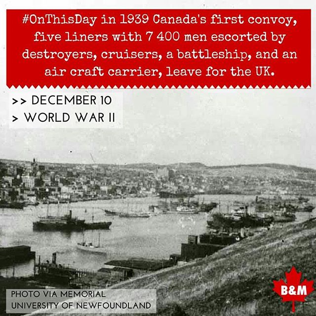 #OTD in 1939 Canada's first convoy leaves for the UK. #wwii #onthisday #canadianhistory