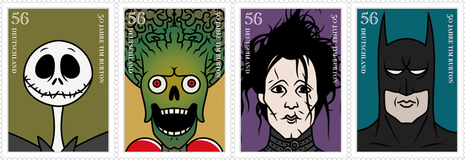 Stamp designs (Jack Skellington, martian, Edward Scissorhands & Batman)