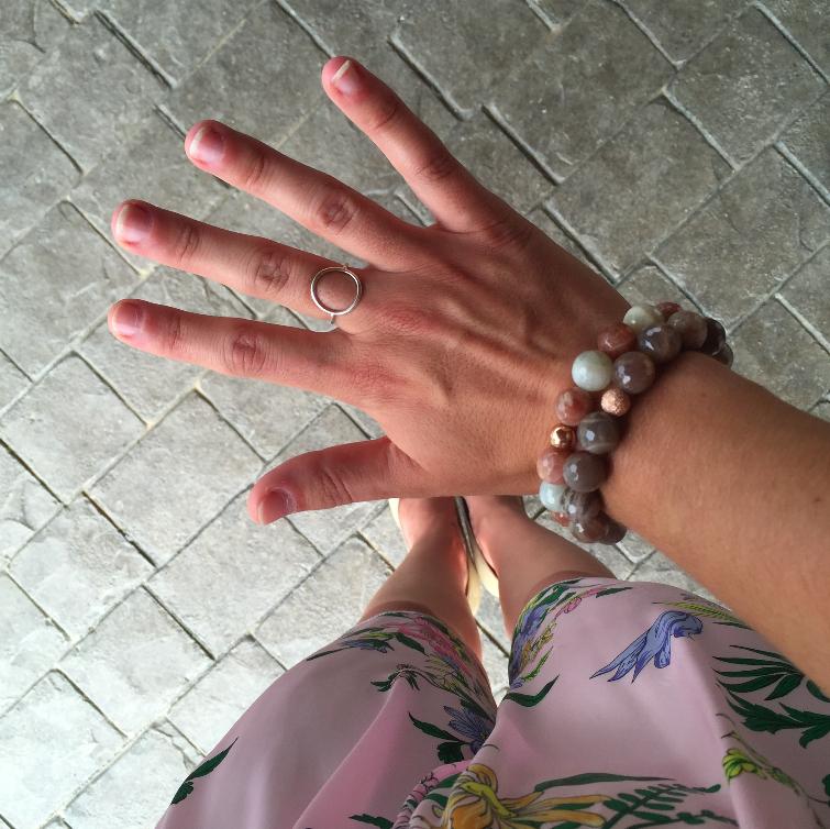 Lepidolite bracelets + Circle ring
