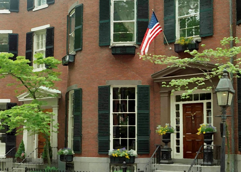 beacon hill, boston: setting for fictional home of Penelope and rudy bloom in bloomsday: a novel