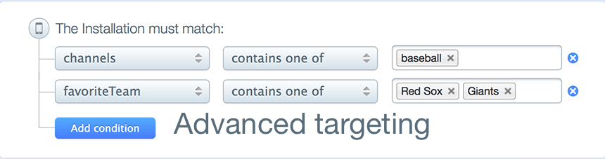Above: Targeted campaigns, segmented by various channels and user groups in Parse Push.