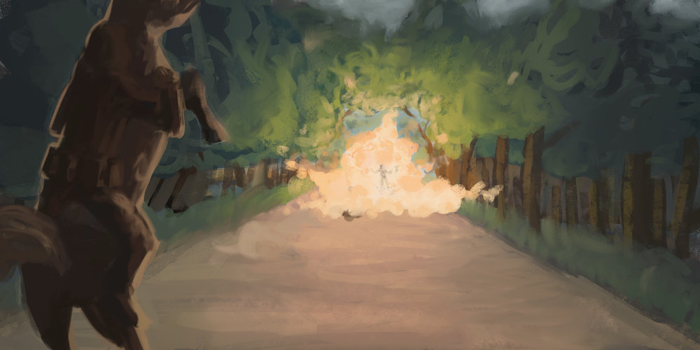 Just a horse on a path with an explosion. The idea was the explosion was caused by the guy in the middle of it by some magical means, maybe to break out of something, but I think it ended up just looking like he was blown to smithereens.
