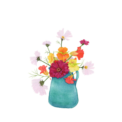 Summer Flower Bouquet Watercolor Painting My Giant Strawberry