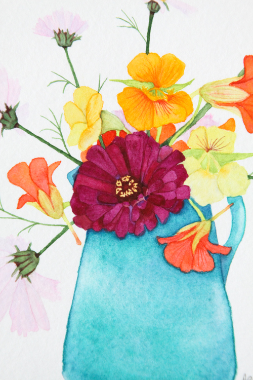 Summer Flower Bouquet Watercolor Painting — My Giant Strawberry