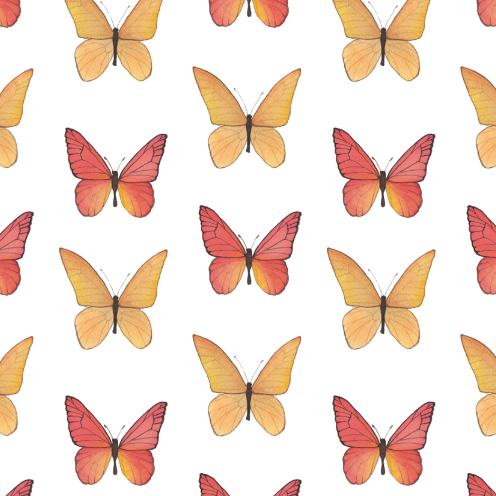 Watercolor Red and Orange Butterflies Fabric Design