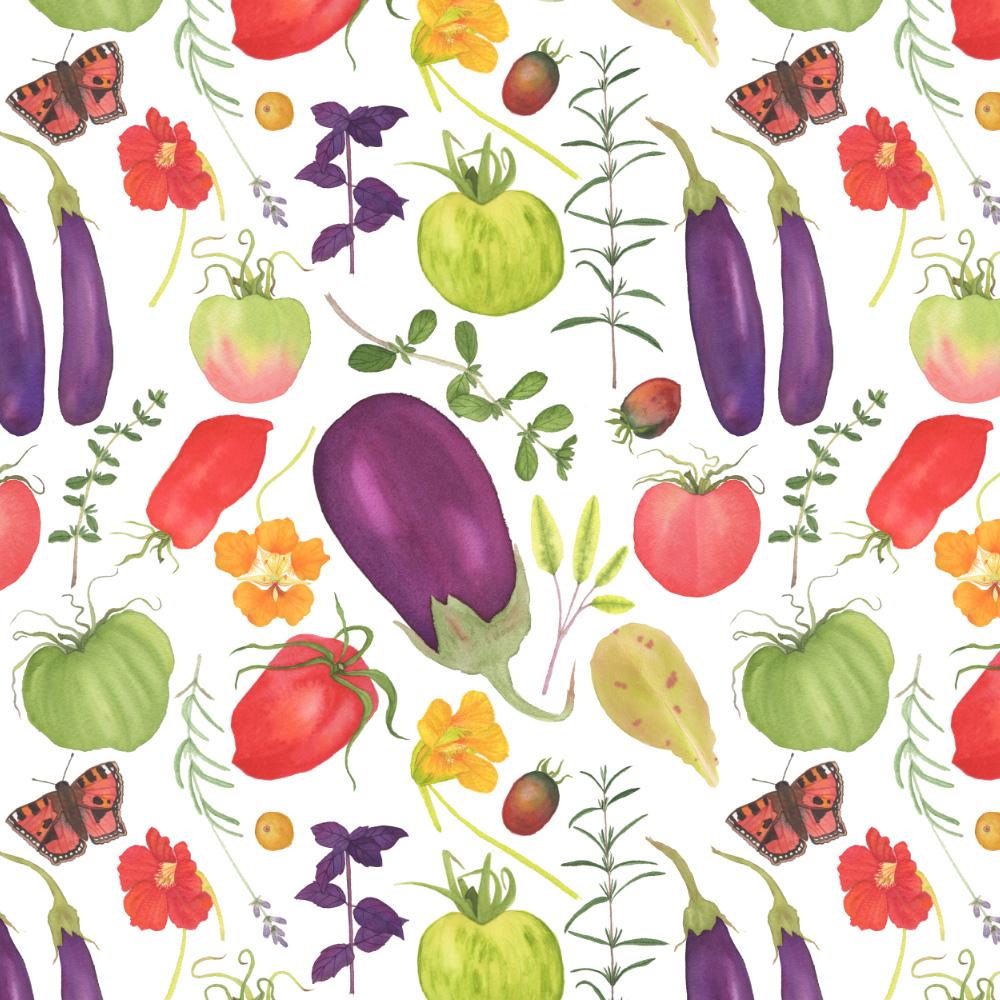 Watercolor Vegetable Garden Fabric Design