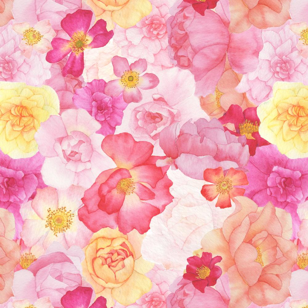 Watercolor Roses Fabric Design