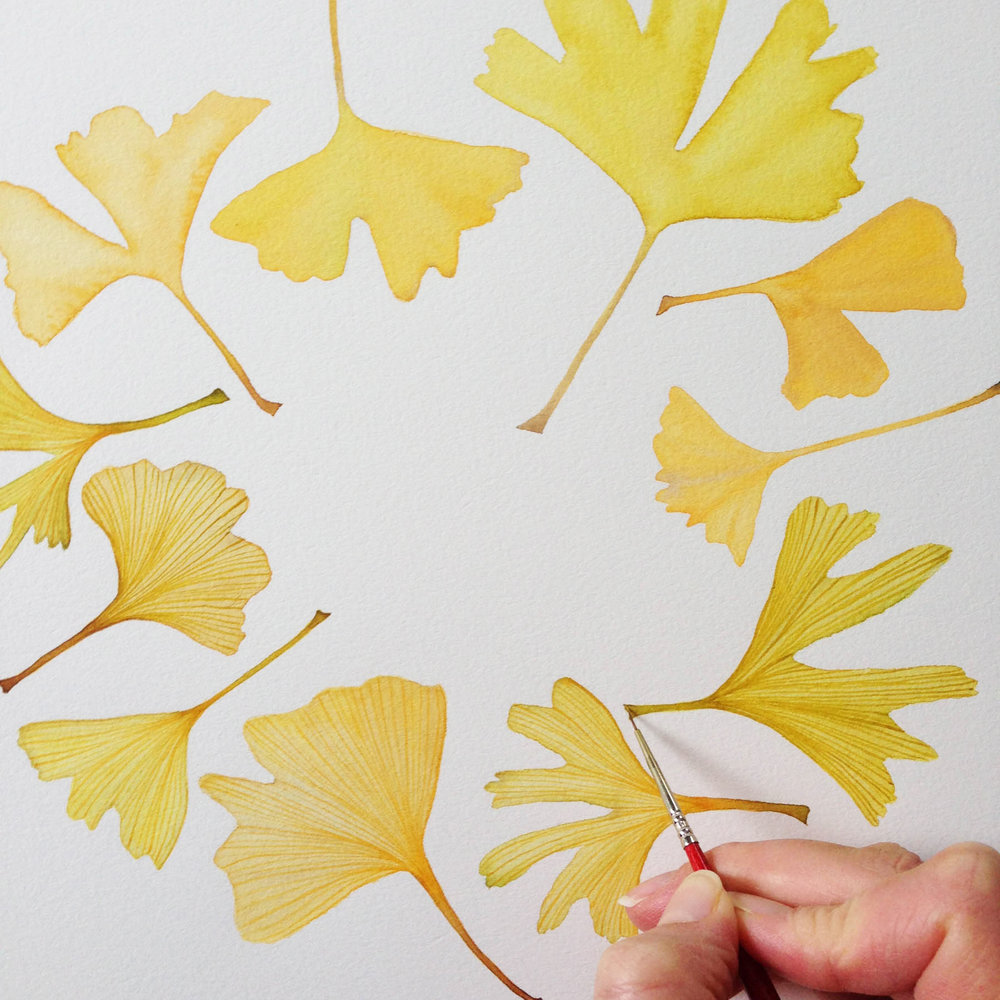 Watercolor Gingko Wreath Painting