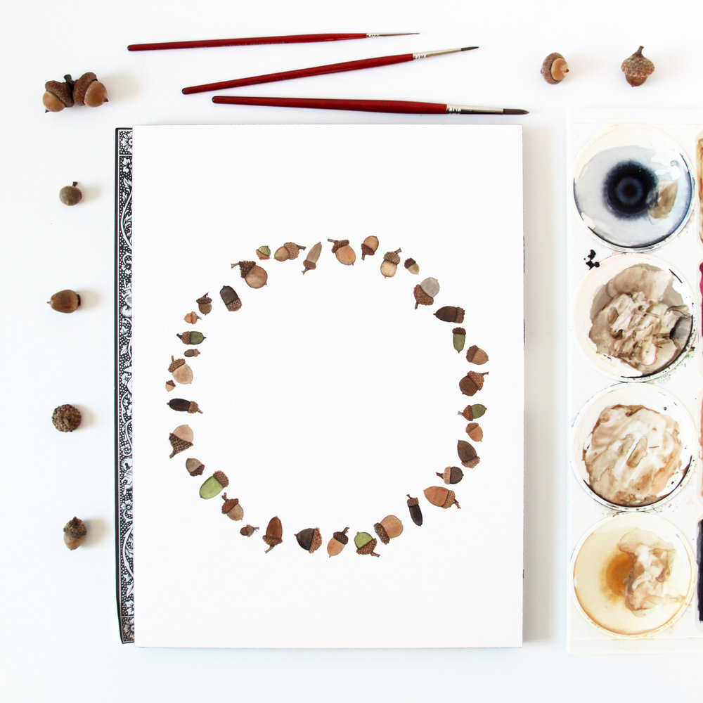 Watercolor Acorn Wreath