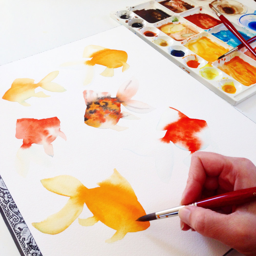 Watercolor Goldfish in Progress by Anne Butera of My Giant Strawberry