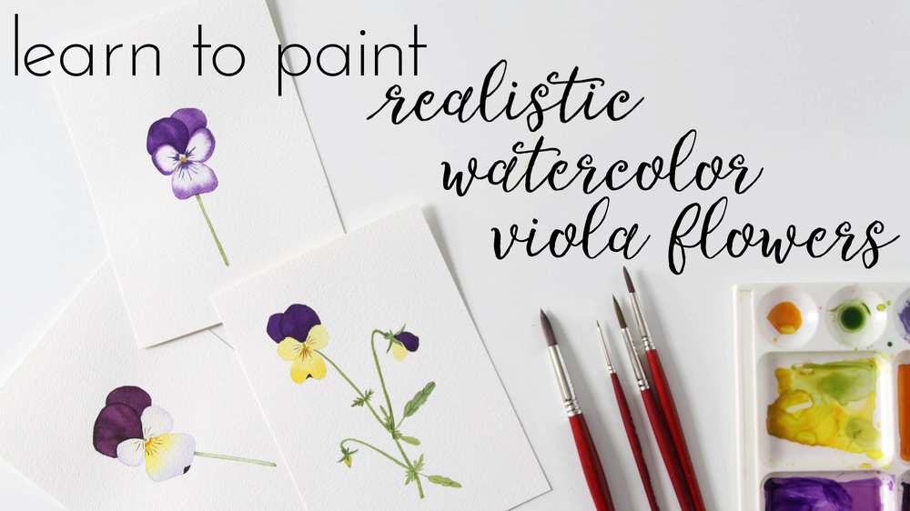 Learn to Paint Realistic Watercolor Viola Flowers