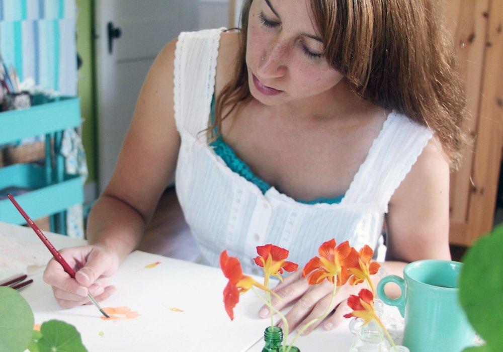 Anne Butera Painting Nasturtiums