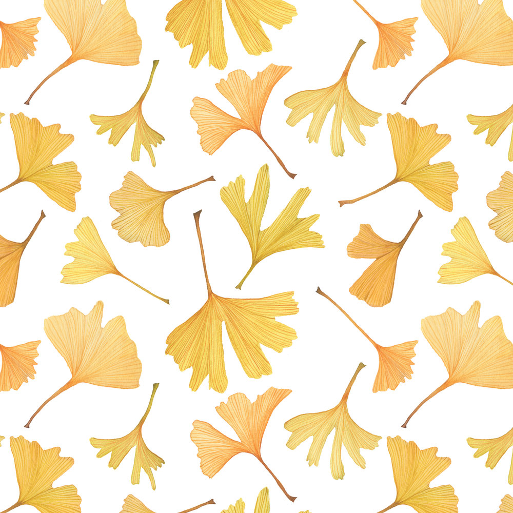 Watercolor Gingko Leaves Fabric Design by Anne Butera