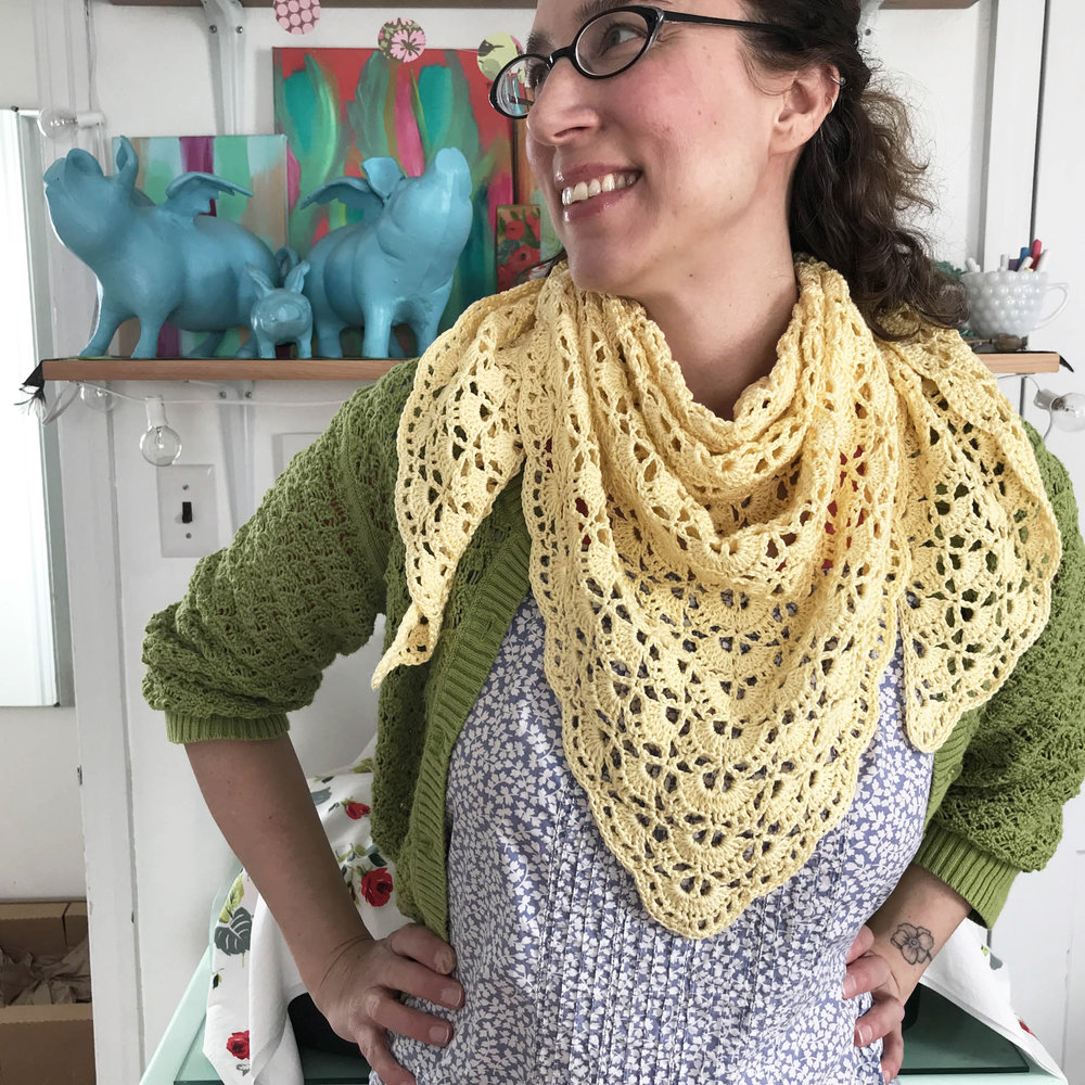 A Silly Selfie in My Studio Modeling a Shawl Crocheted with the South Bay Shawlette Pattern