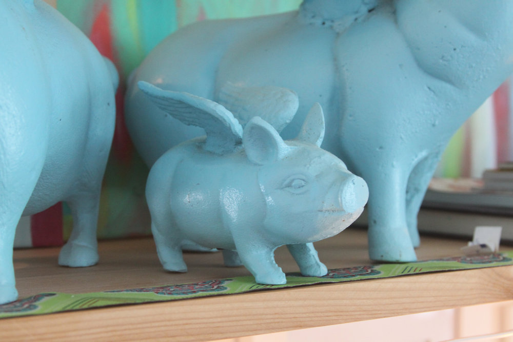 Flying Pigs on a Shelf in My Studio Bring Me Joy Each Day