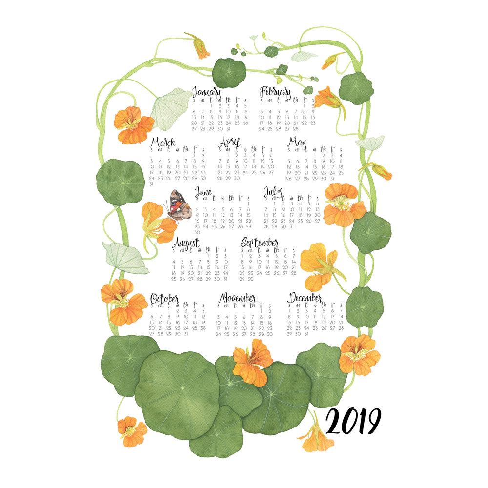 2019 Tea Towel Calendar Nasturtiums
