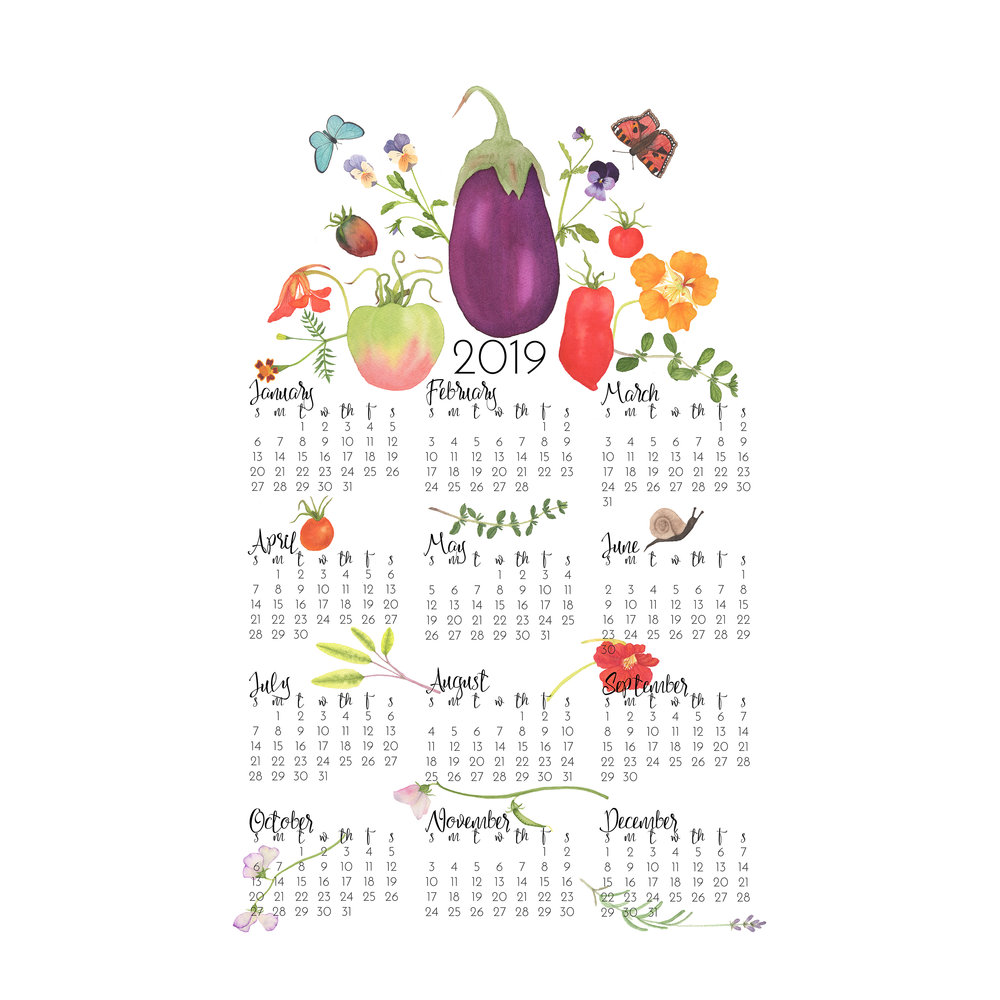 2019 Tea Towel Calendar In the Kitchen Garden design by Anne Butera