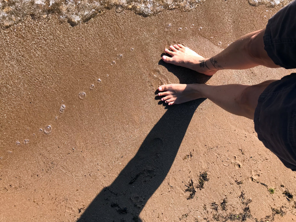 Dipping My Toes into Lake Michigan at the First Chance