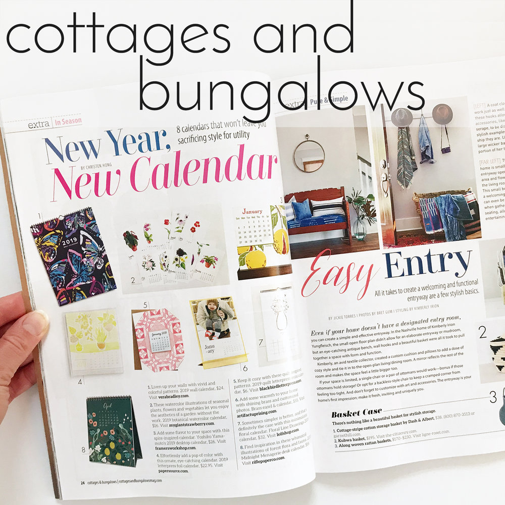 February March 2019 Issue of Cottages and Bungalows Magazine Featured Anne Butera's Botanical Watercolor Calendar